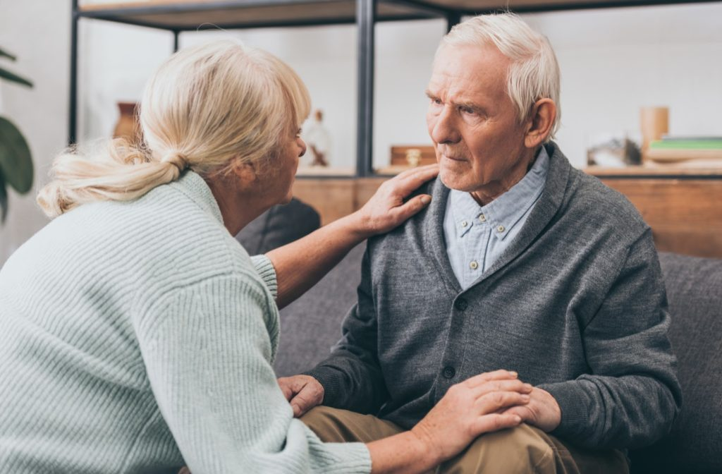 Senior couple together worried about their memory.